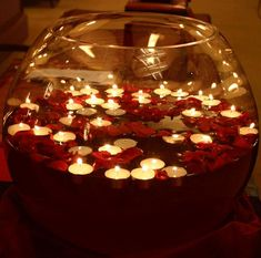 2015 Christmas floating candles in a oval glass bowl with rose petals - Christmas easy made centerpieces Diwali Party, Diwali Diy, Diwali Celebration, Happy Diwali, Candle Wedding Centerpieces, Christmas Centerpieces, Christmas Decorations, Centerpiece Ideas, Diwali Decorations At Home