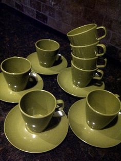 Avocado Green ALLIED CHEMICAL Saucers and Coffee by maggiecastillo, $25.00