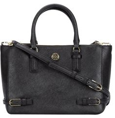 Tory Burch Nwt Robinson Small Multi Tote *save $25 Use Code Gift25* Saffiano Leather Goldtone Buckles Cross Body *sold-out* Black Satchel.…