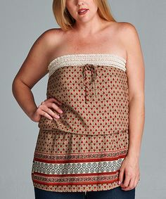 Another great find on #zulily! Brown & Red Lattice Strapless Top - Plus #zulilyfinds