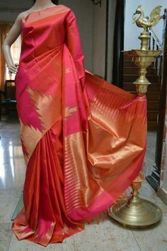 Soft silk with Temple Border Sarees Cost : 10400 INR WhatsApp 91 7019277192 Kota Silk Saree, Indian Silk Sarees, Soft Silk Sarees, Ethnic Sarees, Silk Saree Kanchipuram, Chanderi Silk Saree, Chiffon Saree, Silk Sarees With Price, Silk Sarees Online