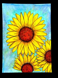 Sunflowers art yellow flowers art mixed media by MitchiesGalleria
