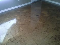 """Soooo I wanted to remove my living room carpet, but to replace with wood flooring is so expensive!!! Then I remembered that I repinned a """"brown paper bag floor."""" And thats just what I did!!!  Yes it was work but I love it!!!"""