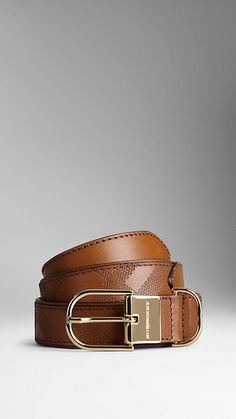 Embossed Check Leather Belt   Burberry