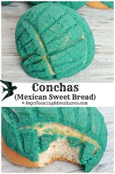 (Mexican Sweet Conchas are a beautiful Mexican doughnut-like sweet bread - perfect for Cinco de Mayo!Conchas are a beautiful Mexican doughnut-like sweet bread - perfect for Cinco de Mayo! Mexican Pastries, Mexican Sweet Breads, Mexican Bread, Mexican Dishes, Mexican Bakery, Mexican Dessert Recipes, Sweets Recipes, Drink Recipes, Conchas Recipe