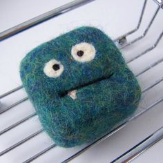 Felted soap Mini Monster teal