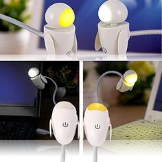 HOREVO LED USB Light Lamp, 3 Level Adjustable Dimmable Brightness Flexible Gooseneck Robot for Computer Laptop Notebook Keyboard Book Reading (Yellow Warm Light ) | Laptop Accessories