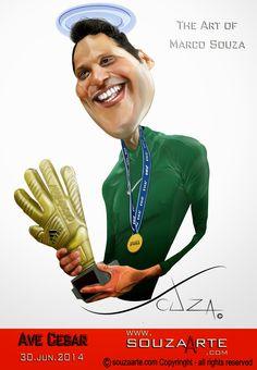 - Ave Cesar - Homenagem ao Goleiro da seleção Brasileira Júlio Cesar. http://www.souzaarte.com/#!untitled/cnfd/tag/caricatura