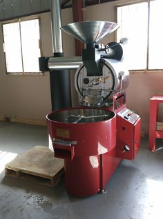 This is our Ambex coffee roaster. 20lb every fifteen minutes - this machine can roast a lot of coffee! And lots of chrome!