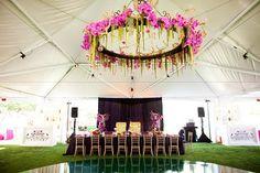 flower chandelier over dance floor