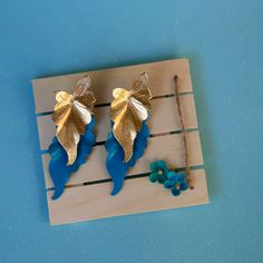 Gold & Turquoise Dual Leaf Vintage 80's by MyRetroEarring on Etsy