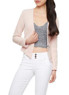 Open Front Blazer With Wraparound Exposed Zipper,ROSE