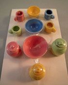 """1"""" Scale Miniature By Barb Pastel Fiesta Canister and Bowl Set"""
