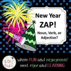 #celebrate2018 ZAP! is a fun and engaging way to have students practice any kind of skill from adding and subtracting to identifying fact and opinion statements. This particular ZAP! provides students practice identifying nouns, verbs, and adjectives with New Year