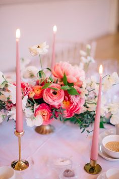 Pink & Gold Table Decor | Ranunculus Floral Centrepiece | Tapered Candles | Floral Centrepiece | Timeless Wedding Assembly Rooms in Bath | M and J Photography
