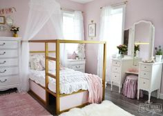 FLIPPED BUNK BED a shabby chic glam little girl s bedroom makeover in pink gold, bedroom ideas, shabby chic