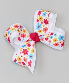 Spring Daisies & White Bow Clip