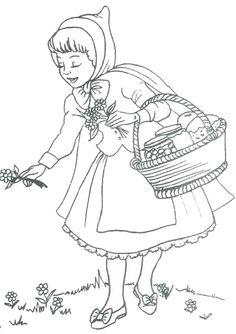 little red riding hood picking flowers coloring page Angel Coloring Pages, Flower Coloring Pages, Coloring Pages To Print, Coloring Books, Animal Crafts For Kids, Red Riding Hood, Drawing For Kids, Little Red, Nursery Rhymes