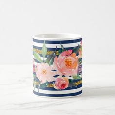 #white - #Girly Modern Chic Watercolor Flowers -Stripes Coffee Mug
