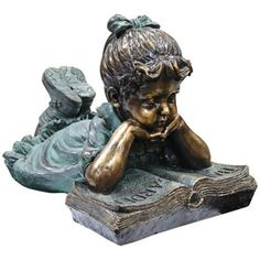 "Girl Reading 16"" High Outdoor Statue -"