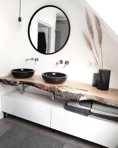 Badezimmer mit dusche Modern, minimalist bathroom with walk-in shower - New Ideas Your Own Home Inte Black Sink, Black Vase, Black Bowl, Bathroom Interior Design, Interior Decorating, Kitchen Interior, Bathroom Goals, Bathroom Ideas, Bathroom Organization