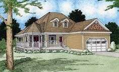 Spend hours enjoying the sunshine on the wrap around porch and gazebo of this country home.  House Plan #281022.
