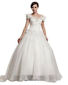 756d5eb4a9 Albizia Scoop Neck Short Sleeves A-line Court Lace Wedding Dress at Amazon  Women s Clothing store