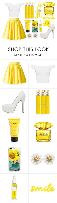 """white and yellow"" by a-hidden-secret ❤ liked on Polyvore featuring Philipp Plein, WearAll, Qupid, Acqua di Parma, Marc Jacobs, Versace, Casetify and Rodin"