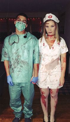 zombie doctor nurse funny halloween costume for coupleYou can find Halloween costume and more on our website.zombie doctor nurse funny halloween costume for couple Disfarces Halloween, Doctor Halloween Costume, Scary Couples Halloween Costumes, Doctor Costume, Best Couples Costumes, Halloween Outfits, Couple Costumes, Costume Zombie, Halloween Makeup