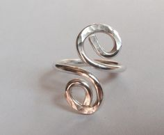 Sterling Silver Scroll Ring Hammered Texture by LisaJStudioJeweler, $40.00