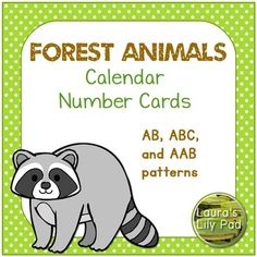 "This file includes three complete sets of calendar numbers, each with a pattern.  Patterns include:  AB, ABC, and AAB.  Each set of calendar number cards comes with 31 number cards, two ""Birthday"" cards, two ""No School"" cards, and one ""Field Trip"" card."