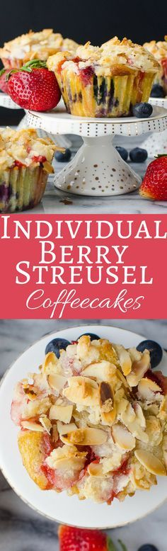 This easy coffeecake recipe is loaded with ripe strawberries and blueberries, topped with an almond streusel! A delicious way to entertain for brunch!