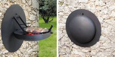 Wall-mounted barbecue