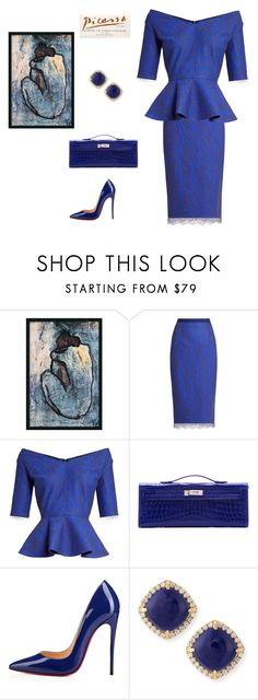 """Blue New"" by scolab ❤ liked on Polyvore featuring Emilio De La Morena, Hermès, Christian Louboutin and Frederic Sage"