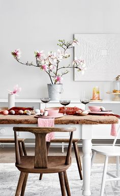 Blush tones and natural finishes create a beautiful setting fit for an Easter celebration. Image, Michael Nangreaves | Producer, Andrea McCrindle | Food styling, Michelle Rabin #easter #decor #pink #celebration