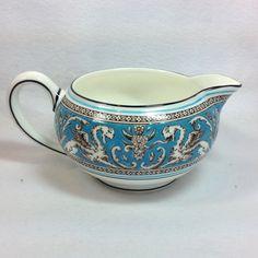 Wedgwood Bone China Florentine W2714 Turquoise with Fruit Center 146 Shape Creamer
