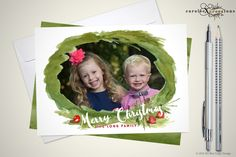 A personal favorite from my Etsy shop https://www.etsy.com/listing/252352275/watercolor-wreath-merry-christmas-photo