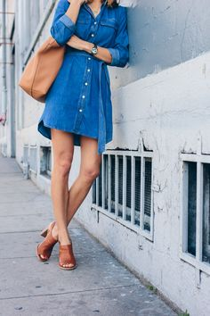 slip on mules, denim dress — via @TheFoxandShe
