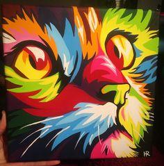 Pi, 10x10, acrylic. : Art Arte Pop, Pop Art Portraits, Portrait Art, Art And Illustration, Neon Cat, Lion Painting, Bird Artwork, Art Graphique, Cat Drawing