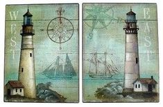 Nautical Vintage Tin Metal  Signs Set of 2 Lighthouse  Beach Theme Beach  Decor