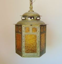 Antique Hand-Forged Brass Arts & Crafts Lantern Hanging Lamp Chandelier Light Fixture Mission Bungalow