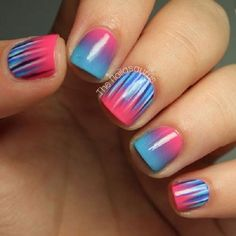Blue Red And Pink nails nail art nail polish nail designs Fancy Nails, Love Nails, How To Do Nails, Pretty Nails, Uk Nails, Nails Polish, Hair And Nails, Nail Art Designs, Nail Polish Designs