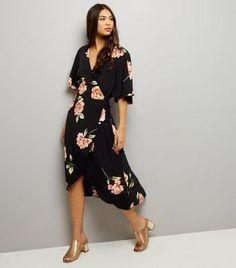 2b5e0b8223ed Black Floral Print Wrap Front Maxi Dress