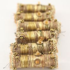 Fiber Bead Fabric Antique Gold Green Embroidered Textile Art Bead