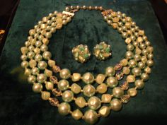 Vintage Green 4 Strand Necklace Earring Set by MartiniMermaid, $45.88
