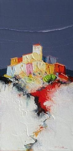 les crepis - Peinture,  30x60 cm ©2011 par Christian Eurgal -            huile sur toile village de provence