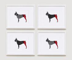 Boston Terrier Print Set by gusandabby on Etsy, $18.00