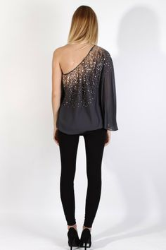 MADISON-MARCUS-One-Sleeve-BRONZE-SEQUIN-Silk-Grey-SPECTACLE-Blouse-TOP