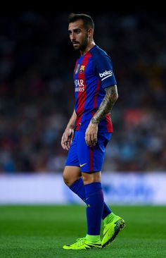 Paco Alcacer of FC Barcelona looks on during the La Liga match between FC Barcelona and Deportivo Alaves at Camp Nou stadium on September 10, 2016 in Barcelona, Catalonia.