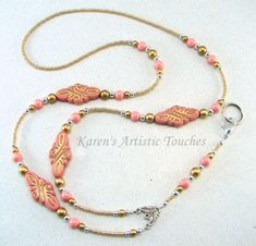 Victorian+Pink+Gold+Swirls+Beaded+Lanyard+ID+by+ArtisticTouches